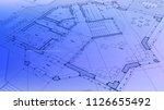 architecture design  blueprint... | Shutterstock .eps vector #1126655492
