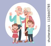happy grandparents and two... | Shutterstock .eps vector #1126665785