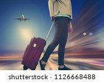 traveler woman with suitcase...   Shutterstock . vector #1126668488