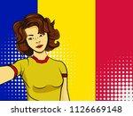 asian woman taking selfie photo ... | Shutterstock .eps vector #1126669148
