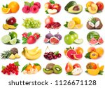 collection on fresh fruits on... | Shutterstock . vector #1126671128