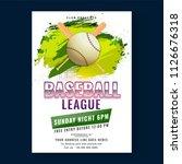 baseball league poster or flyer ... | Shutterstock .eps vector #1126676318