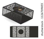 vector wedding card laser cut...   Shutterstock .eps vector #1126709855