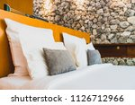 confortable white pillow on bed ... | Shutterstock . vector #1126712966