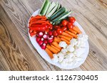 platter or fresh cut vegetables ... | Shutterstock . vector #1126730405