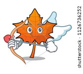 cupid red maple leaf character... | Shutterstock .eps vector #1126736252
