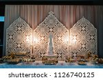table with muffins  cakes ... | Shutterstock . vector #1126740125