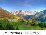 the odle mountain peaks and the ... | Shutterstock . vector #112674026