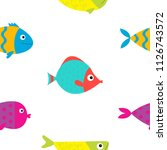 cute cartoon fish icon set.... | Shutterstock .eps vector #1126743572