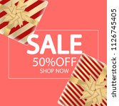 sale banner with gift boxes.... | Shutterstock .eps vector #1126745405