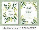 wedding invitation frames with... | Shutterstock .eps vector #1126746242