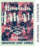hawaiian style  longboard...   Shutterstock .eps vector #1126761656