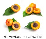 set of fresh yellow apricots... | Shutterstock . vector #1126762118