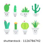 set of cute cartoon cacti... | Shutterstock .eps vector #1126786742
