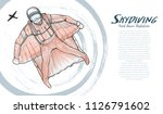 drawing vector of skydiving.... | Shutterstock .eps vector #1126791602