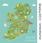 irish map with symbols of... | Shutterstock .eps vector #1126793948