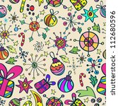 Christmas pattern with color elements, seamless background, vector - stock vector
