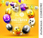 halloween party template with... | Shutterstock .eps vector #1126831982