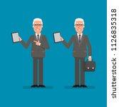 old businessman holds tablet... | Shutterstock .eps vector #1126835318