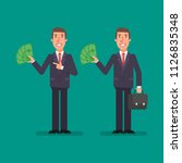 businessman holds paper money... | Shutterstock .eps vector #1126835348