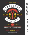 barbecue party vector flyer or... | Shutterstock .eps vector #1126837952