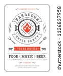 barbecue party vector flyer or... | Shutterstock .eps vector #1126837958