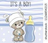cute cartoon teddy bear with... | Shutterstock .eps vector #1126854215