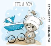 greeting card its a boy with... | Shutterstock .eps vector #1126854218