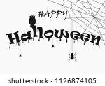 happy halloween text set for... | Shutterstock .eps vector #1126874105