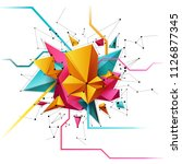 3d abstract grid background...   Shutterstock .eps vector #1126877345