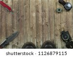 above shot of scout tools puts... | Shutterstock . vector #1126879115
