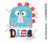 funny cute dinosaur head... | Shutterstock .eps vector #1126888448