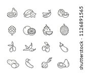 vegetables and fruits icons ... | Shutterstock .eps vector #1126891565