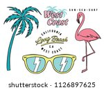 set of hand drawn tropical... | Shutterstock .eps vector #1126897625