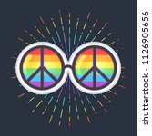 hippie sunglasses with rainbow... | Shutterstock .eps vector #1126905656