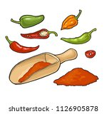 chilli whole  half  slice and... | Shutterstock .eps vector #1126905878