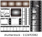 35mm and 135 still camera and cinema film strip vectors - stock vector