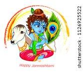 lord krishna in happy... | Shutterstock .eps vector #1126925522