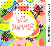 hello summer greeting card on... | Shutterstock .eps vector #1126927205