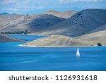sailboat sailing in kornati... | Shutterstock . vector #1126931618