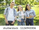 group of happy college students ... | Shutterstock . vector #1126943306
