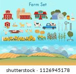 farm set. farm panorama with a... | Shutterstock .eps vector #1126945178