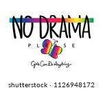 no drama text and butterfly... | Shutterstock .eps vector #1126948172