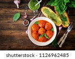 meatballs in tomato sauce and... | Shutterstock . vector #1126962485
