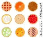 set of nine cute  colorful pie... | Shutterstock .eps vector #1126967522