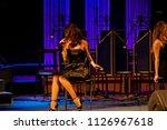 jazz singer. sexy woman in... | Shutterstock . vector #1126967618