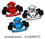 speed cartoon cars | Shutterstock .eps vector #112696972