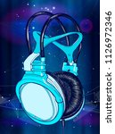 bright colored headphones on a... | Shutterstock .eps vector #1126972346