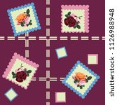 seamless floral patchwork... | Shutterstock .eps vector #1126988948