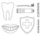line art black and white teeth... | Shutterstock .eps vector #1126996358